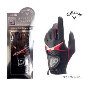 2017 夏 キャロウェイ Callaway メンズ 2017年 ゴルフ グローブ 左手用1枚カラー:ブラック×レッドCallaway Tech Glove 17 JM10077355【メ1800(税抜)】|onepoint