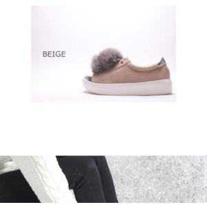スリッポン レディース スニーカー スエード調 ラビットファー 2017 秋冬 ファッション 靴 婦人靴|ones-style|03