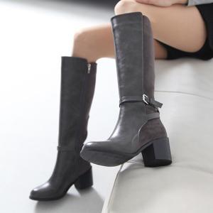 ロングブーツ 太ヒール チャンキーヒール 切り替え ストラップ ブーツ レディース 2016 秋 ファッション レディース 靴 婦人靴 30代 40代