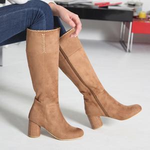 ロングブーツ ブーツ レディース 秋 ファッション 靴 婦人靴 30代 40代 チャンキーヒール 太ヒール スエード調
