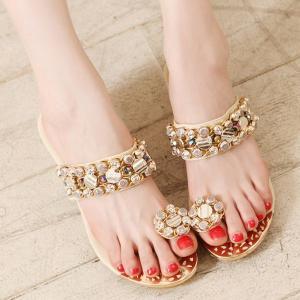 サンダル レディース 履きやすい ミュール ウェッジサンダル ラインストーン ビジュー ウェッジソール サンダル トング ファッション 靴  婦人靴 厚底サンダル|ones-style|02