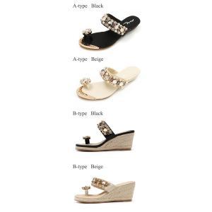サンダル レディース 履きやすい ミュール ウェッジサンダル ラインストーン ビジュー ウェッジソール サンダル トング ファッション 靴  婦人靴 厚底サンダル|ones-style|03