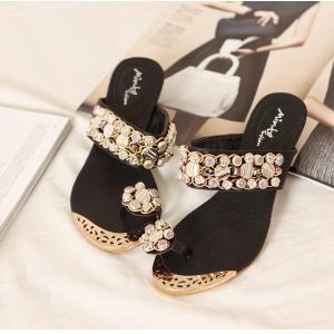 サンダル レディース 履きやすい ミュール ウェッジサンダル ラインストーン ビジュー ウェッジソール サンダル トング ファッション 靴  婦人靴 厚底サンダル|ones-style|05
