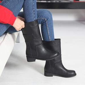 ミドルブーツ ローヒール シンプル ブーツ レディース 秋 ファッション レディース 靴 婦人靴 30代 40代