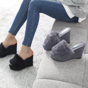 サンダル レディース 厚底 ウェッジヒール スエード調 2017 秋冬 ファッション 靴 婦人靴
