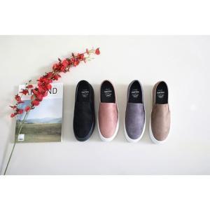 スリッポン スニーカー レディース スエード調 厚底 紐無し ぺたんこ 春 ファッション 靴 婦人靴 カジュアル|ones-style|02