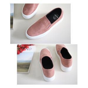 スリッポン スニーカー レディース スエード調 厚底 紐無し ぺたんこ 春 ファッション 靴 婦人靴 カジュアル|ones-style|11
