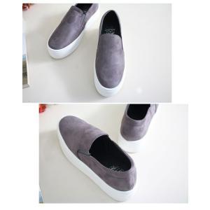 スリッポン スニーカー レディース スエード調 厚底 紐無し ぺたんこ 春 ファッション 靴 婦人靴 カジュアル|ones-style|15