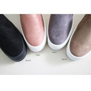 スリッポン スニーカー レディース スエード調 厚底 紐無し ぺたんこ 春 ファッション 靴 婦人靴 カジュアル|ones-style|03