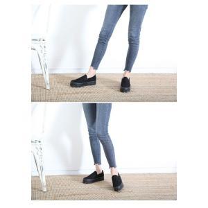 スリッポン スニーカー レディース スエード調 厚底 紐無し ぺたんこ 春 ファッション 靴 婦人靴 カジュアル|ones-style|09