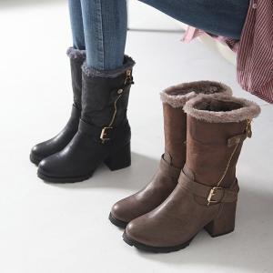 ミドルブーツ チャンキーヒール 太ヒール フェイクファー ブーツ レディース 秋 ファッション レディース 靴 婦人靴 30代 40代
