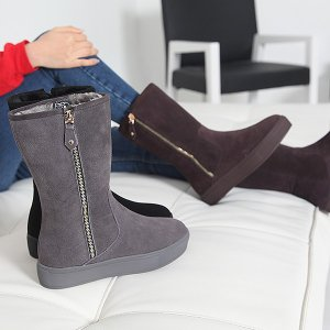 ミドルブーツ 裏起毛 フラットヒール サイドジップ 本革スエード ブーツ レディース 秋 ファッション レディース 靴 婦人靴 30代 40代