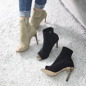 ブーティ レディース ブーティー オープン ピンヒール 2017 秋冬 ファッション 靴 婦人靴...