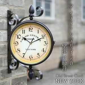 掛け時計 壁掛け時計 アンティーク 両面 レトロ おしゃれ 時計 ウォールクロック   アイアン