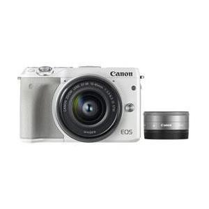 【送料無料】 キヤノン EOS M3 ダブルレンズキット2 ホワイト 約2420万画素 デジタル一眼カメラ [EOSM3ダブルレンズキット2ホワイト]|onhome