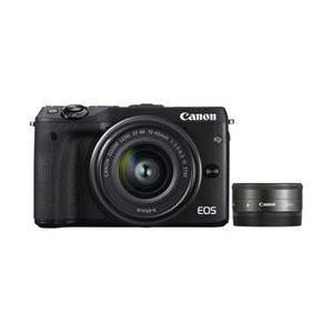 【送料無料】 キヤノン EOS M3 ダブルレンズキット2 ブラック 約2420万画素 デジタル一眼カメラ [EOSM3ダブルレンズキット2ブラック]|onhome