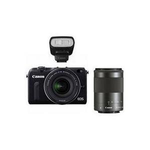 キヤノン EOS M2 ダブルズームキット ブラック【送料無料】 1800万画素 ミラーレス一眼カメラ [EOSM2ダブルズームキットブラック]|onhome