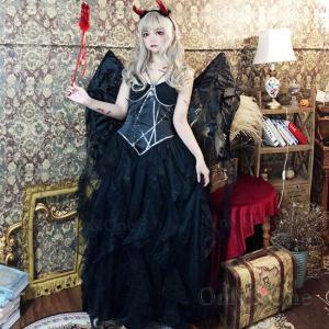 悪魔コスプレ デビルコスプレ ハロウィン ドレス ロング 小悪魔ドレス