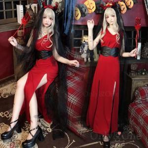 悪魔 コスプレ デビルコスプレ ハロウィン ドレス セクシー小悪魔ドレス スリット