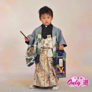 七五三 袴 男の子 着物 レンタル 3歳 袴セット 子供 羽織 03-619IM グレー |onlyyou