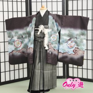 七五三 袴 花うさぎ 刺繍 男の子 着物 レンタル 5歳 袴セット 子供  04-603IM