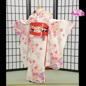 七五三 女の子 7歳 ブランド/四つ身 JAPAN STYLE 子供 着物レンタル 帯付きセット 白  07-000SK...