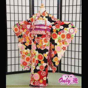 七五三 女の子 7歳 ブランド/四つ身 式部浪漫 子供 着物レンタル 帯付きセット 黒 菊と桜  0...