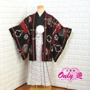 十歳の祝い/1/2成人式/男紋付羽織袴 ブランド/Japan Style/着物レンタル 10-581NB 赤黒|onlyyou