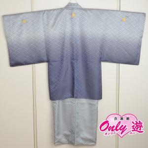 メンズ袴/男紋付羽織袴/ 20-606NB(5号)/結婚式/成人式/入学式/卒業式/着物レンタルグレーボカシ|onlyyou