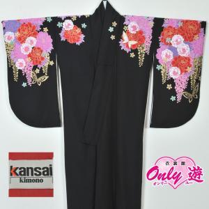卒業式/レディース/小振袖/二尺袖/着物/袴用/22−108IM 黒 ブランド Kansai onlyyou