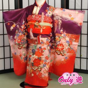 七五三 女の子 3歳  子供 三ツ身 着物レンタル 帯付きセット4-000SK 紫|onlyyou