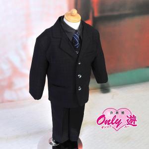 男児スーツ B2/七五三/結婚式/パーティー/ピアノの発表会/ チェックスーツ 黒 90cm|onlyyou