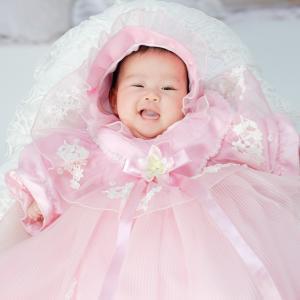 ベビードレス/祝い着 /お宮参り/70cm/G0 Proud ピンク/ドレス  白 サイズ70|onlyyou