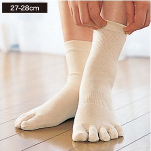温むすび シルク5本指ソックス(かかと無し)LL(27-28cm)  5本指 靴下 シルク 冷え 汗...