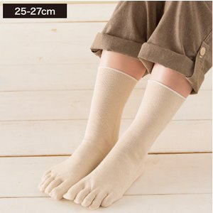 温むすび シルクを綿で守る5本指靴下 L-LL(25-27cm) 5本指 靴下 かかとなし シルク ...