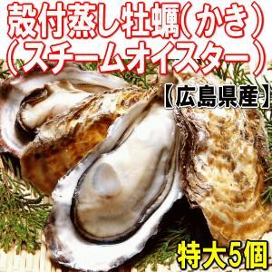 広島県産 (特産品 名物商品) 冷凍特大殻付蒸し牡蠣(カキ かき) 5個入り スチームオイスター 旬 海鮮 鍋 送料無料 onomichi-marukin