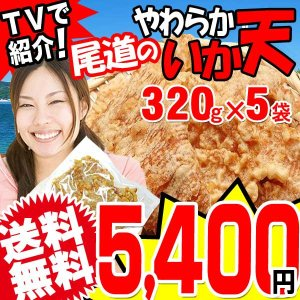 グルメ 広島県産 (特産品 名物商品) いか天 320g ×5袋(スナック菓子 スナック おつまみ)わけあり 訳あり 不揃い イカ天 onomichi-marukin