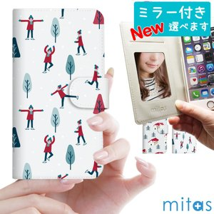 スマホケース 手帳型 全機種対応 ベルトなし ベルトあり iPhone 11 Pro Max XS max XR 8 mitas mset-nb [クリスマス 冬 雪] oobikiyaking