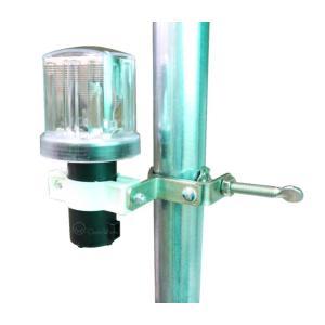 ソーラー工事灯 10個セット ソーラーブルー 足場取付金具付 単管取付 保安灯 安全灯|oochi-works