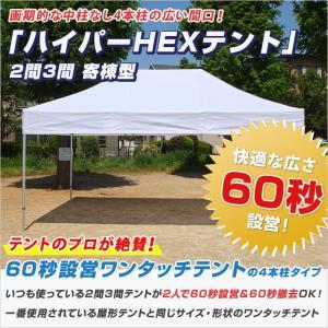 最強 ワンタッチテント HEX ハイパーテント 寄棟型 3.6m×5.4m (2間×3間) オールア...