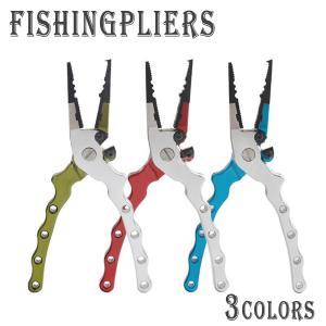 フィッシングプライヤー 小型 先細 フィッシュプライヤー 釣り具 マルチ プライヤー 専用ケース付|ookami