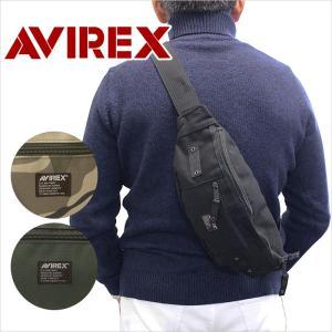 ミリタリーテイストあふれるAVIREXのウエストバッグ。 帆布のような風合いにかすれたロゴプリントが...