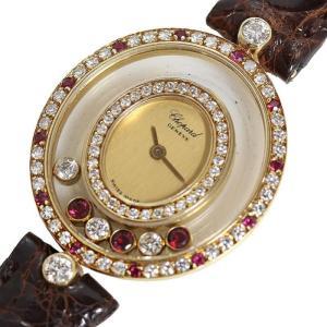 ショパール Chopard ハッピーダイヤモンド オーバル 20/4457 ルビー 金無垢 クォーツ レディース 腕時計(中古)|ookura7815
