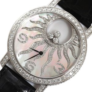 ショパール Chopard ハッピーサン 207469/4176 クォーツ WG無垢 ダイヤモンド シェル メンズ 腕時計(中古)|ookura7815