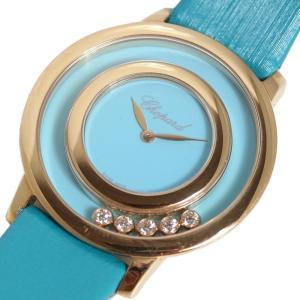 ショパール Chopard ハッピーダイヤモンド 209429-5104 RG無垢 5Pダイヤ ターコイズブルー クォーツ レディース 腕時計(中古)|ookura7815