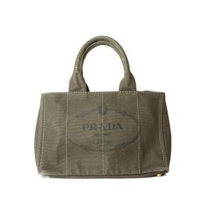 プラダ PRADA カナパトートバッグ B1877B カーキ レディース (中古)|ookura7815
