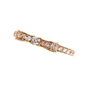 アヴァロン Avaron リボンリング K18PG ダイヤモンド レディース 指輪 ジュエリー(中古) ookura7815
