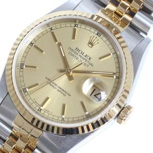 ロレックス ROLEX デイトジャスト 16233 シャンパン YG/SS T番 メンズ 自動巻 腕時計(中古)|ookura7815