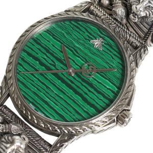 グッチ GUCCI Gタイムレス ル・マルシェ・デ・メルヴェイユ YA1264010 クォーツ メンズ グリーン 腕時計(中古) ookura7815