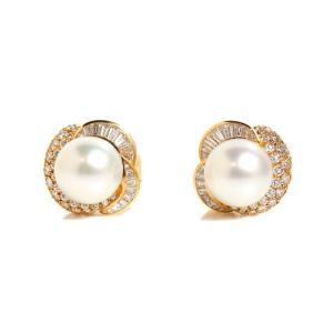 ピアジェ PIAGET パールイヤリング K18YG ダイヤモンド 真珠 レディース ジュエリー(中古) ookura7815